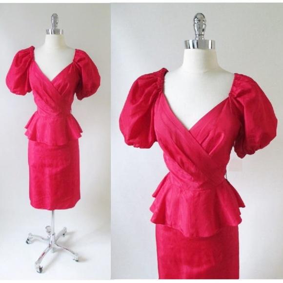 4cbd17c93e58 SALE Vintage 80's Puff Sleeve Peplum Party Dress M.  M_5c8ae5f17386bccb5caf05d4